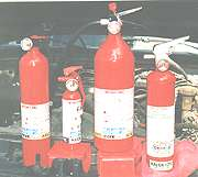 Variety of fire extinguishers.
