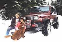 Jeep in snow with Brad, Irene, Hershey