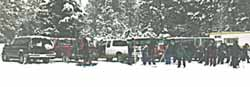 Cross-country skiers at Ponderosa State Park.